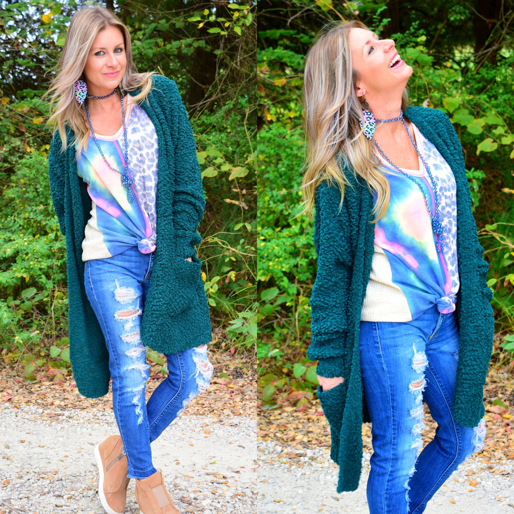 Deep Green Popcorn Cardigan