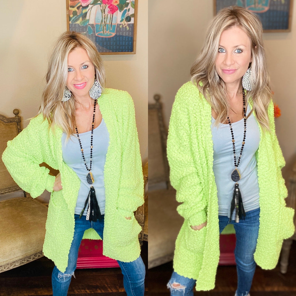 Neon Lime~Popcorn Dreams Comfy Puff Sleeve Cardigan