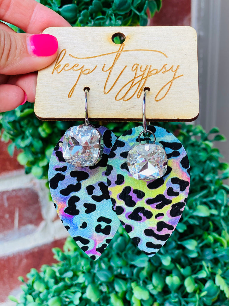 Pastel Cheetah Leaf Crystal Earrings