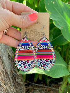 Ivory Serape Leopard AB Earrings