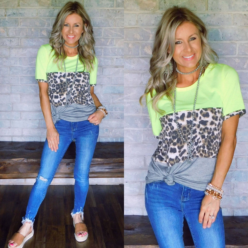 California Summer Neon Lime Leo Top