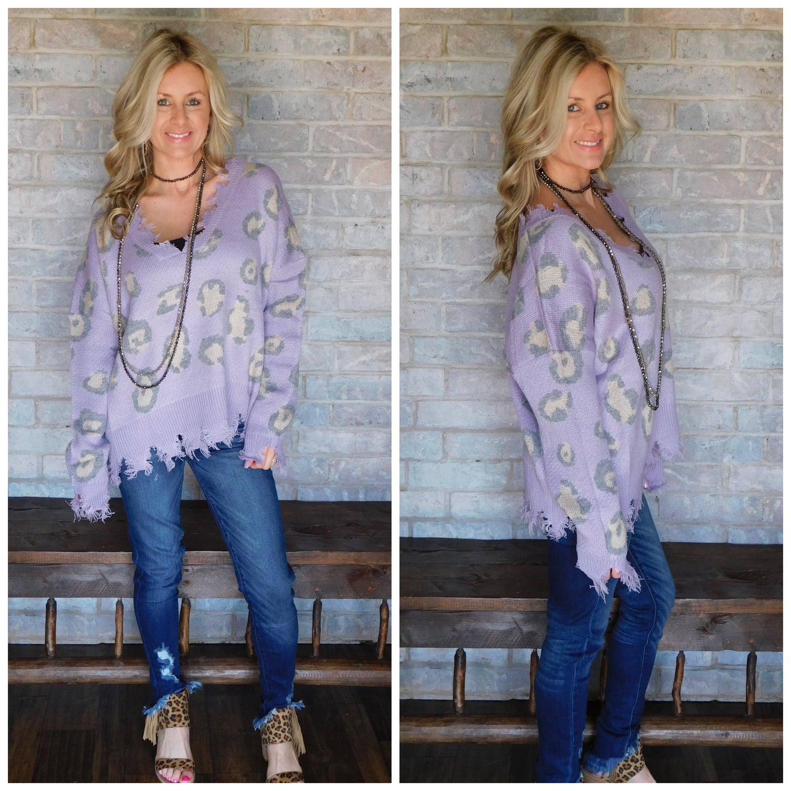 Lilac Leopard Ribbed Knit Sweater