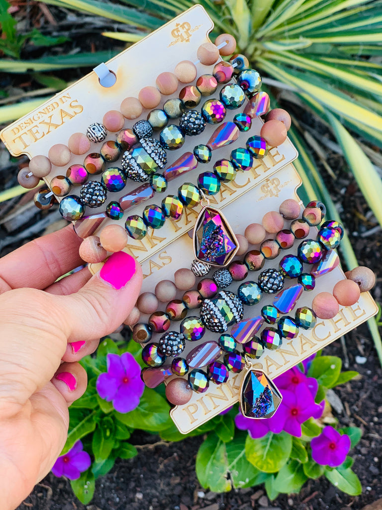 Vegas Nights Shimmer Beaded Bracelet Stack by Pink Panache