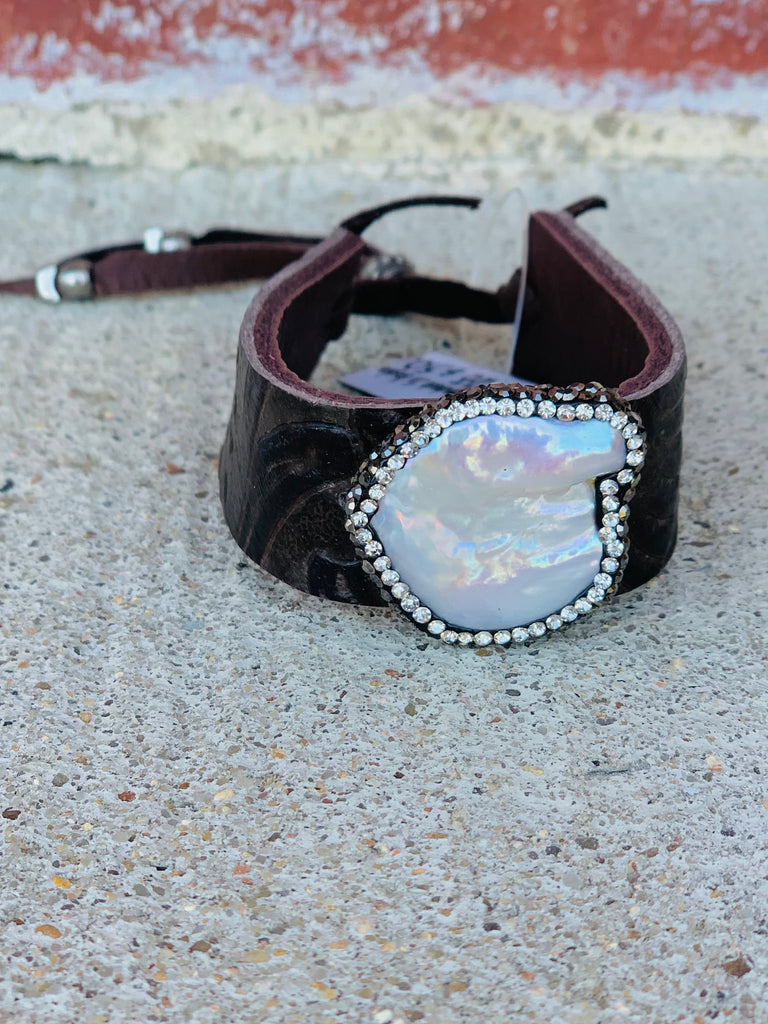 Leather ~ Chocolate Pearl Pave Medium Cuff