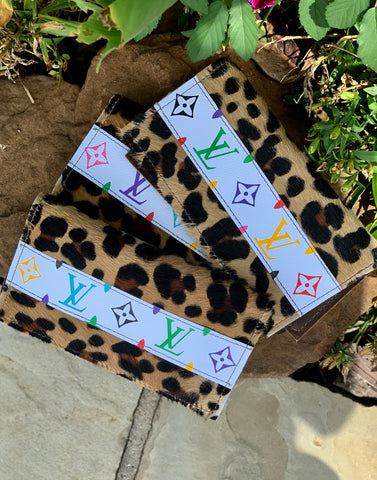 Leopard hair on hide multi color check book wallet
