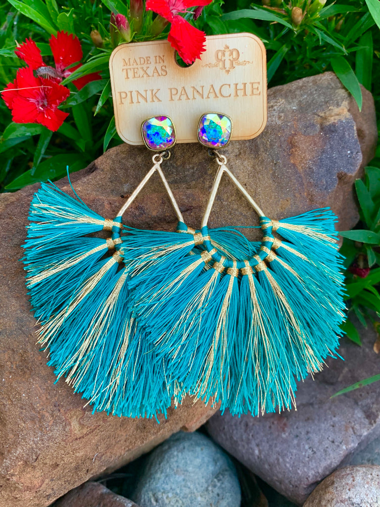 Dazzle Me Up Turquoise & Gold Silk Fringe earrings by Pink Panache