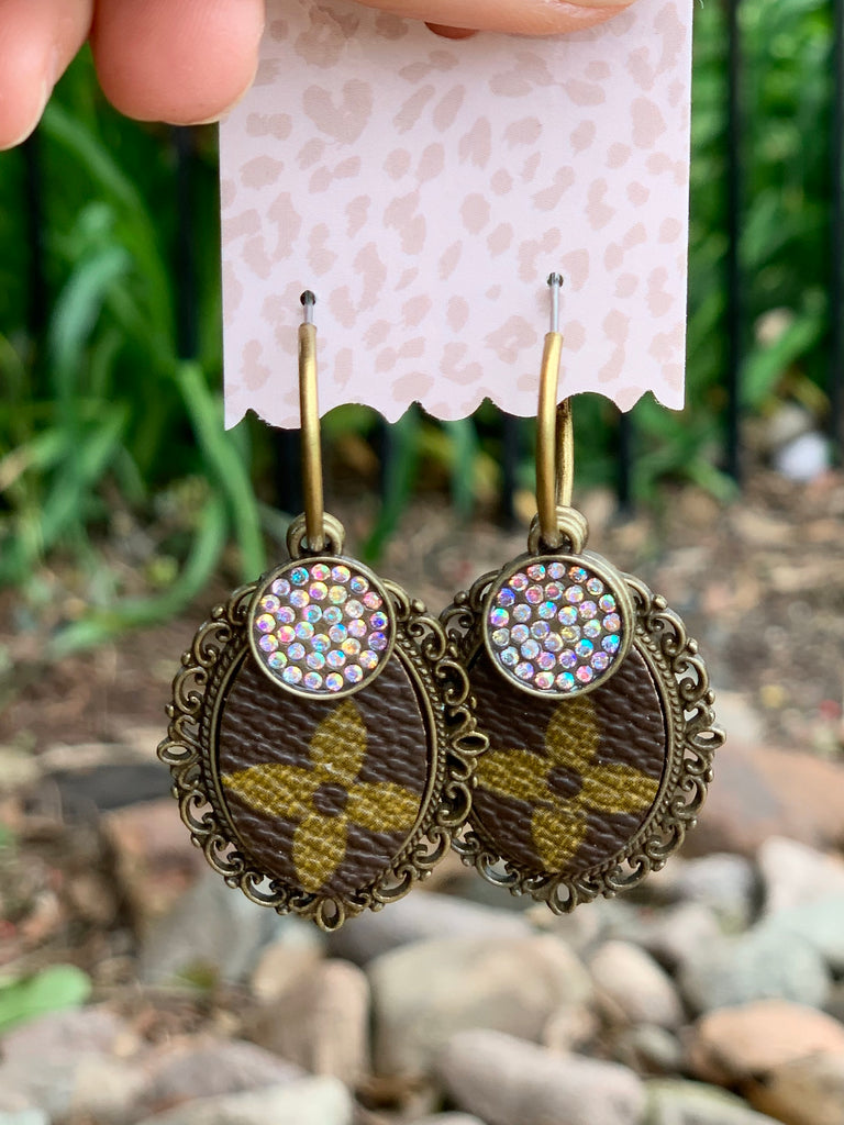 Brown Antique AB embellished up cycled earrings