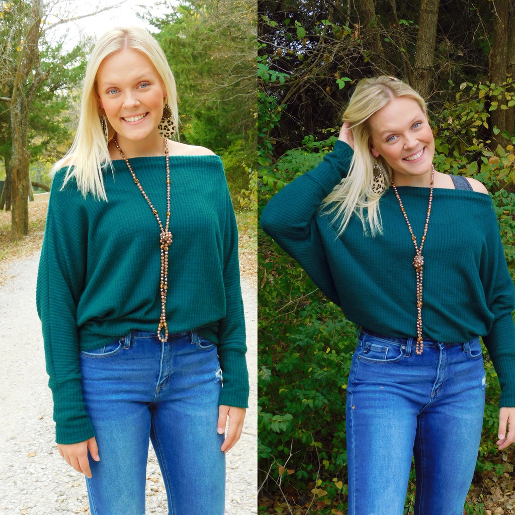 Hunter Green Chic Waffle Knit Sweater