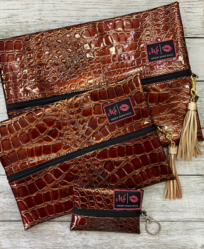 Cognac Brown Croc Makeup Junkie Bags