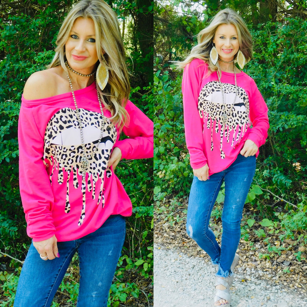 Leopard & Lips Hot Pink Sweatshirt