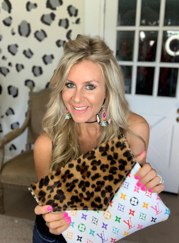 Simply Chic Leopard print hair on hide and white multi LV crossbody
