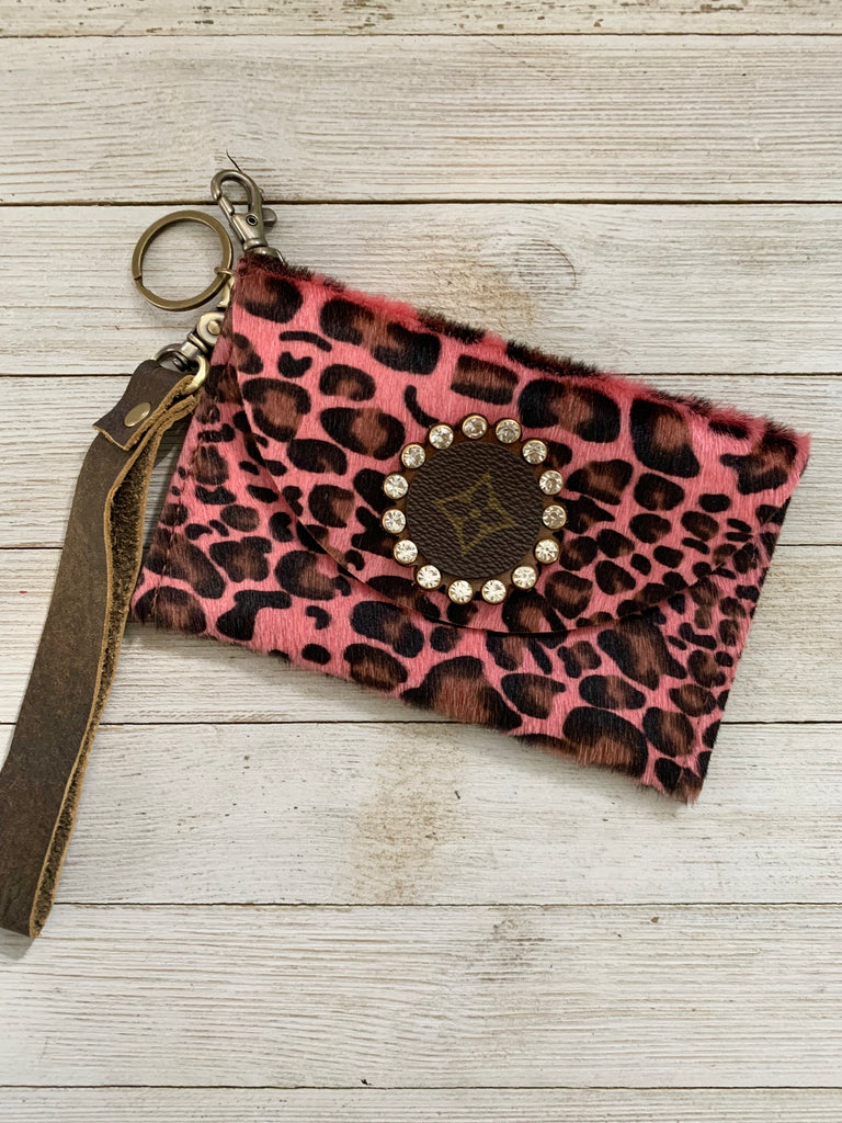 Wristlet~ Pink Leopard Upcycled Embellished CC holder by Keep It Gypsy