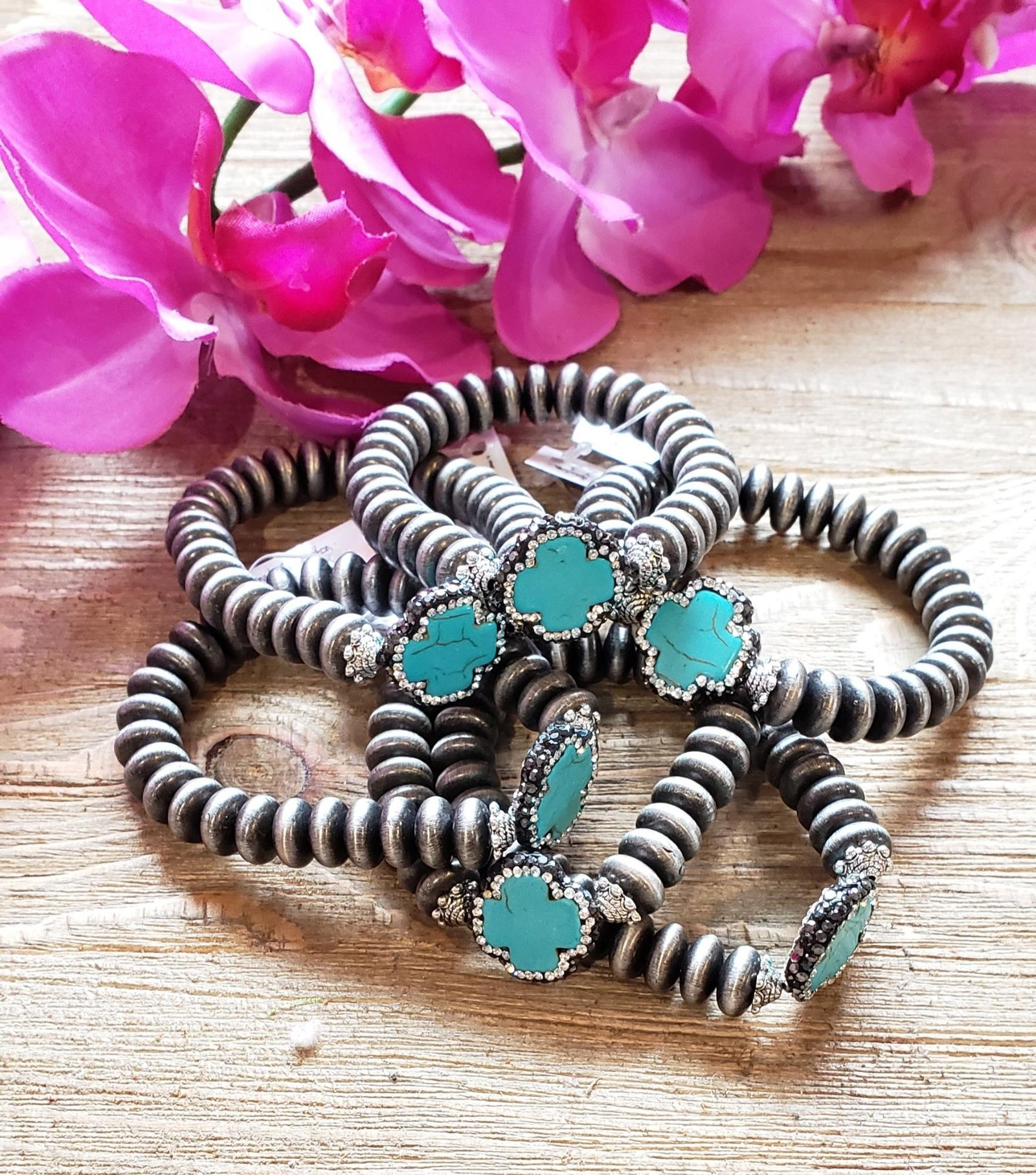 Silver beaded stretch bracelet with turquoise pave cross