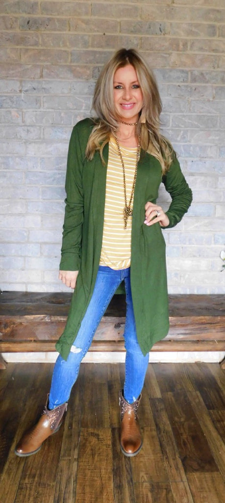 Drapey light weight cardigan ~ Army Green