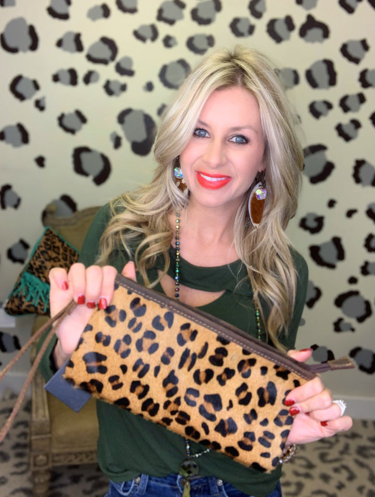 Leopard hair on hide wristlet/clutch