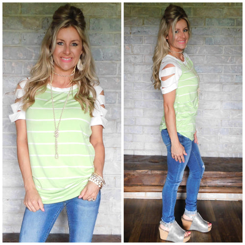 Lime a Rita striped slit sleeve blouse