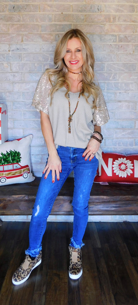 Taupe Show Girl Waffle Knit Blouse