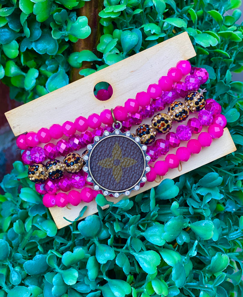 Hot Shimmer Pink Upcycled Leopard Beaded Stack