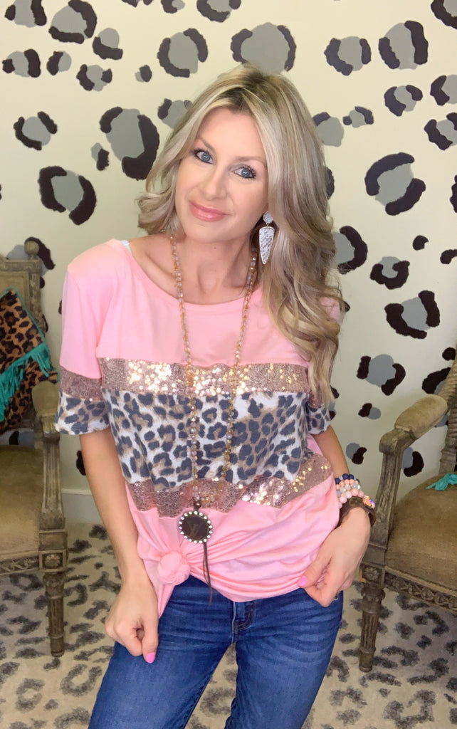 Blush Show me your style leopard sequin tee