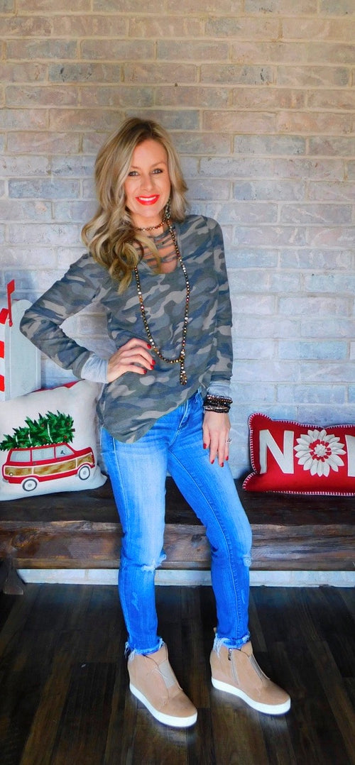 Camo caged long sleeve  blouse