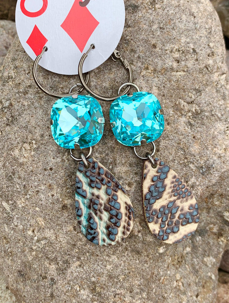 Blue Python & Blue Crystal Double Drop earrings