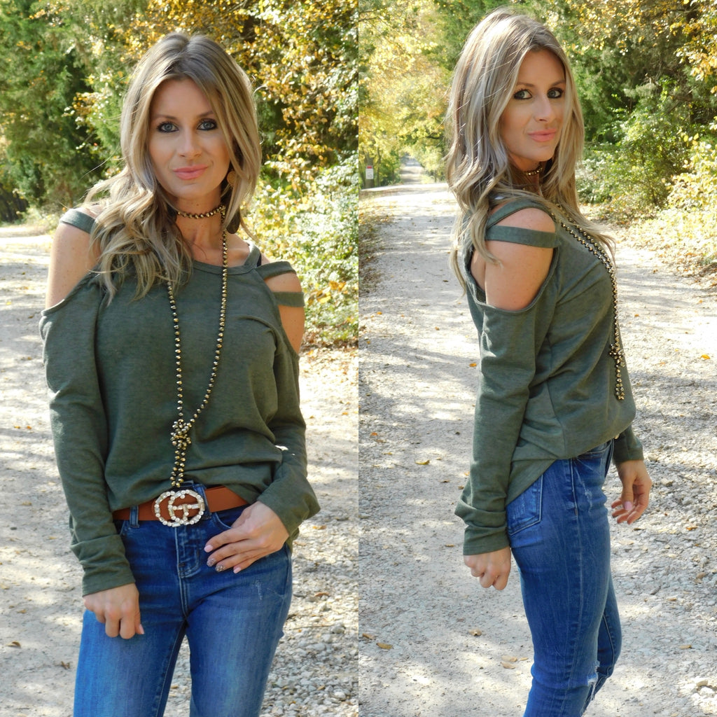 Vintage Olive Open Shoulder Top