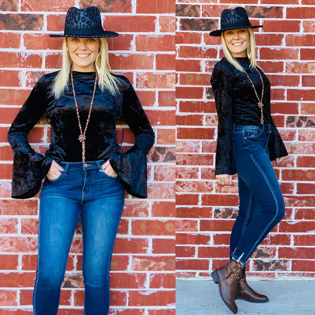 Queen Bee velvet black bell sleeve blouse