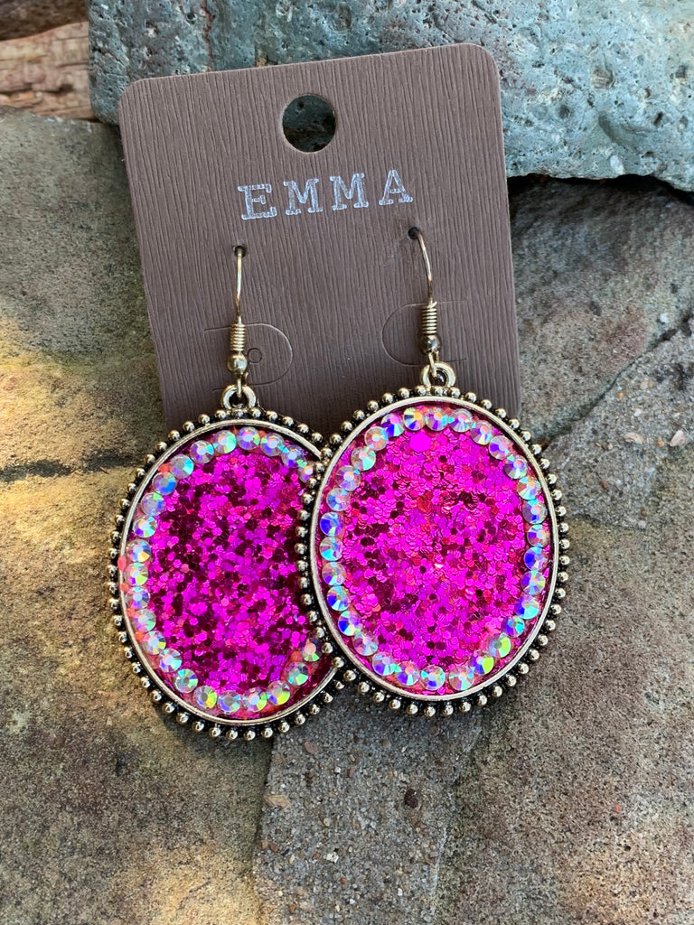 Fuschia Glitter Crush & AB Oval Earrings