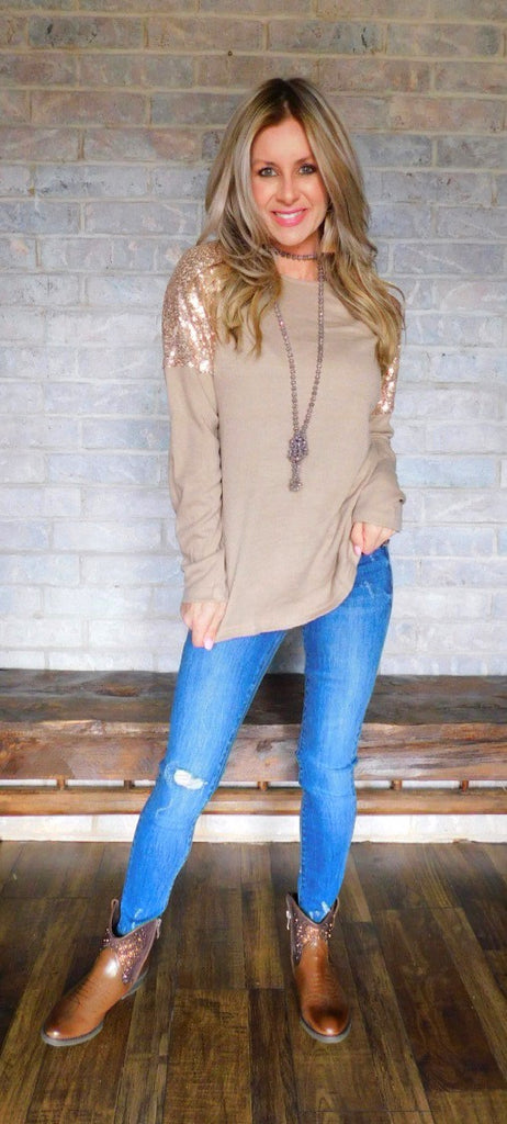 Taupe sequin sleeve long sleeve blouse