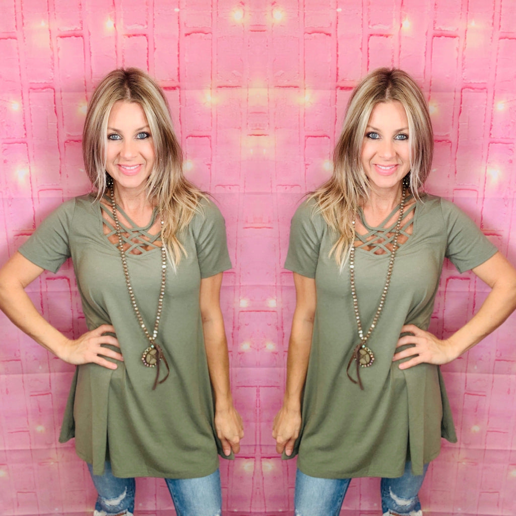 Light Olive criss cross blouse