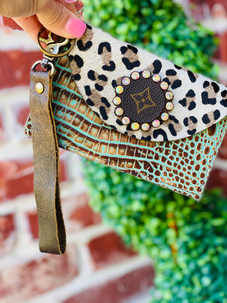 Turquoise & Brown Croc with Snow Leopard Upcycle Wristlet