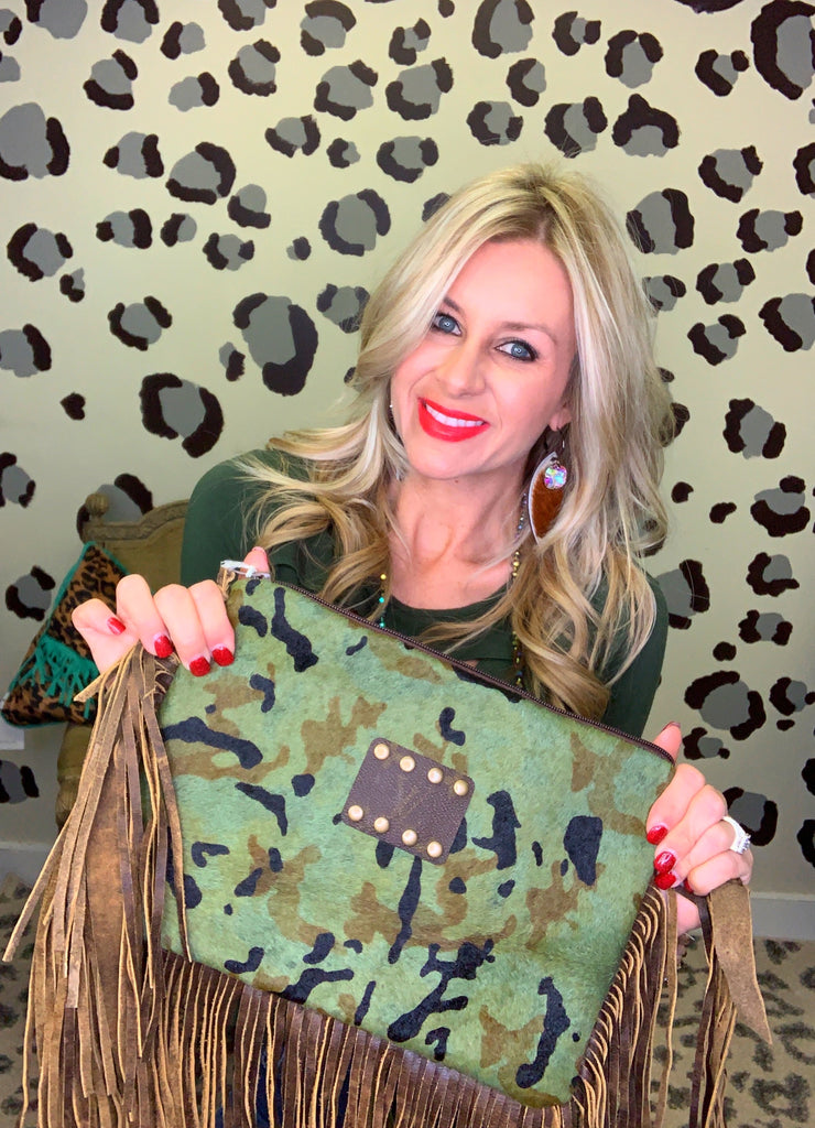 Camo print hair on hide Maxine purse by Keep it Gypsy