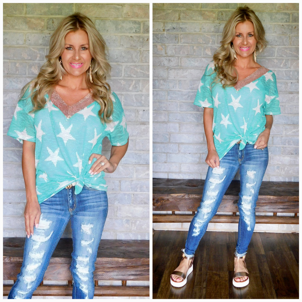 Shimmy and Shine Mint Star Rose Gold Sequin Blouse