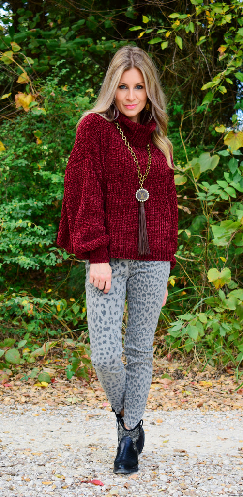 Dark Burgundy Cozy Feels Sweater