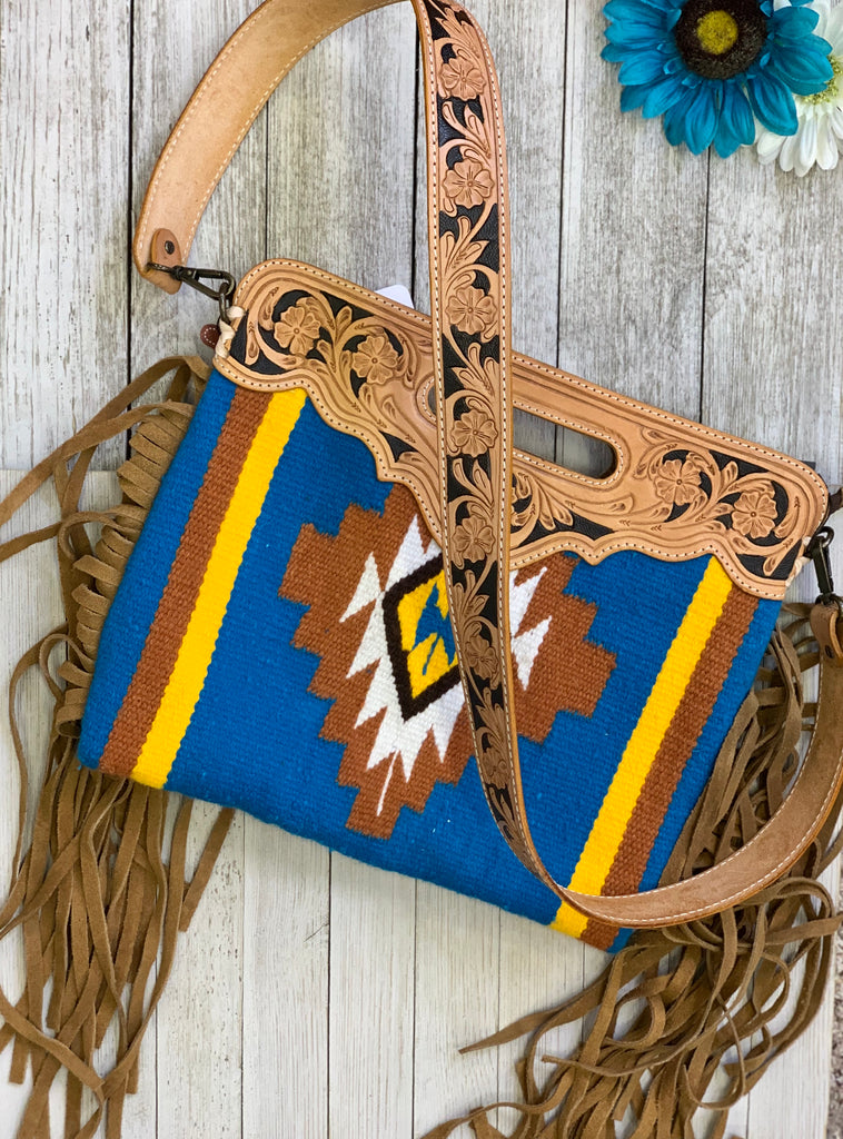 The Wild West south blue Aztec tooled leather purse