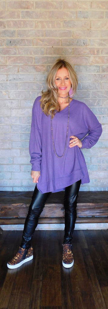 Lilac vibes  thermal waffle sweater