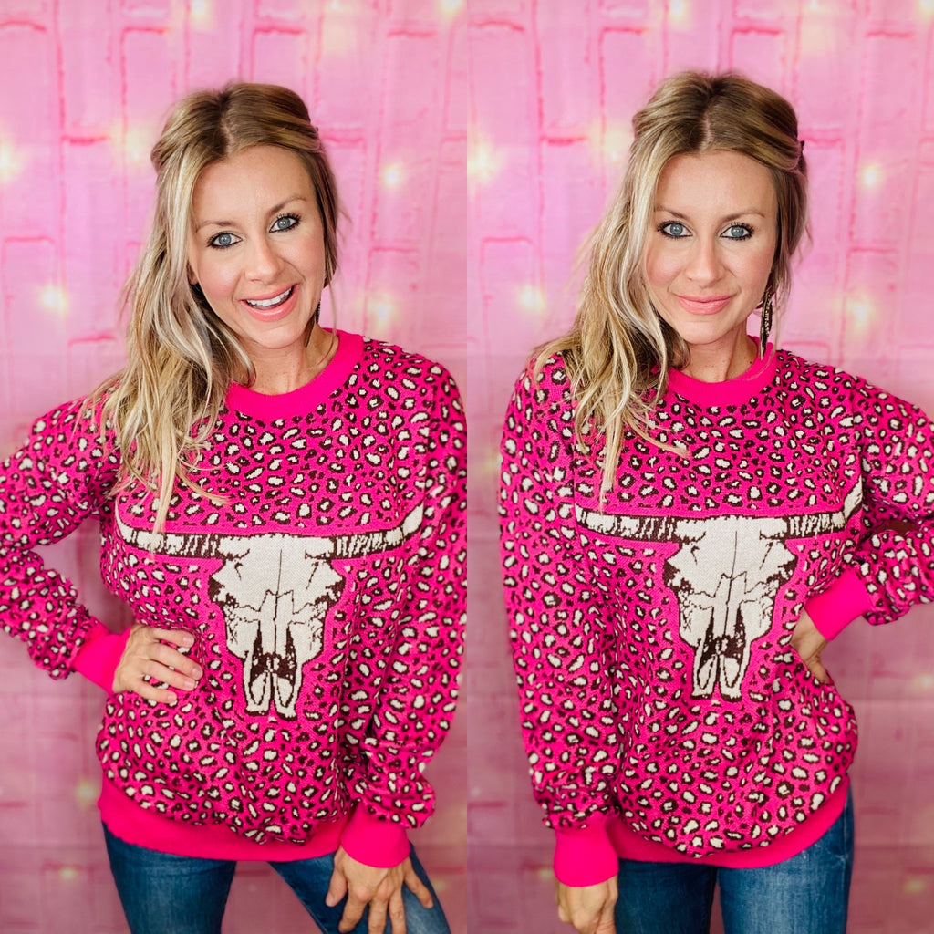 Hot Head Leopard Bull Head Pink Sweater by Crazy Train