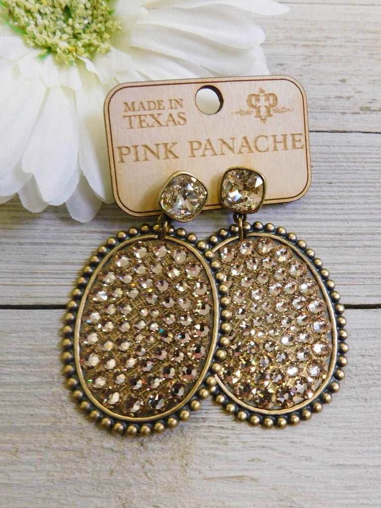 Bronze AB Crystal Oval Earrings w/ Cushion Embellishment by Pink Panache
