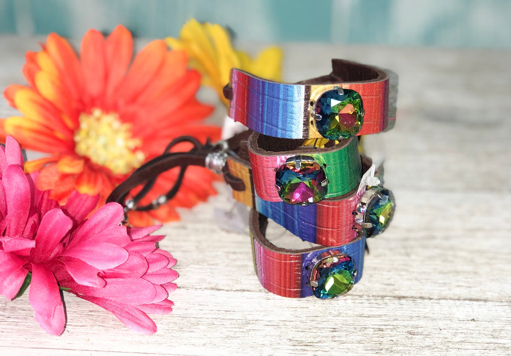 Serape Leather w/ Blue Green Stone Mini Cuff