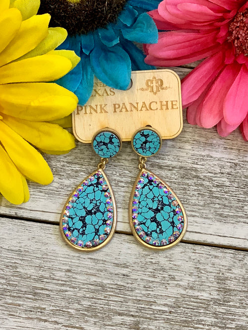 Pink Panache Cracked Turquoise Earrings