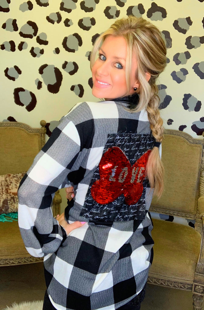 Love me in plaid sequin flannel by Queen Bee