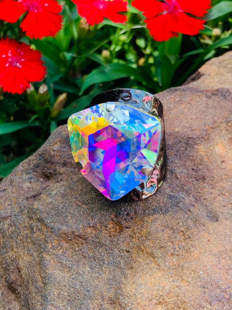 Tri AB Crystal Chrome Ring