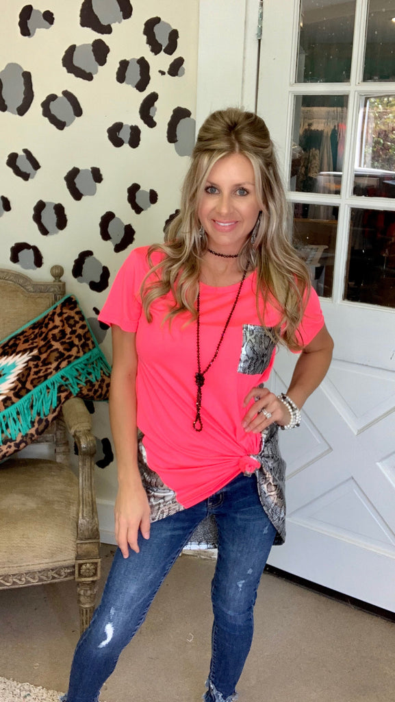 Wild nights pink & python Crazy Train hi lo blouse