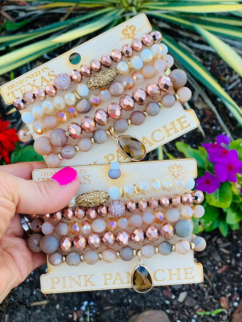 Goldi Locks Shimmer Beaded Bracelet Stack by Pink Panache