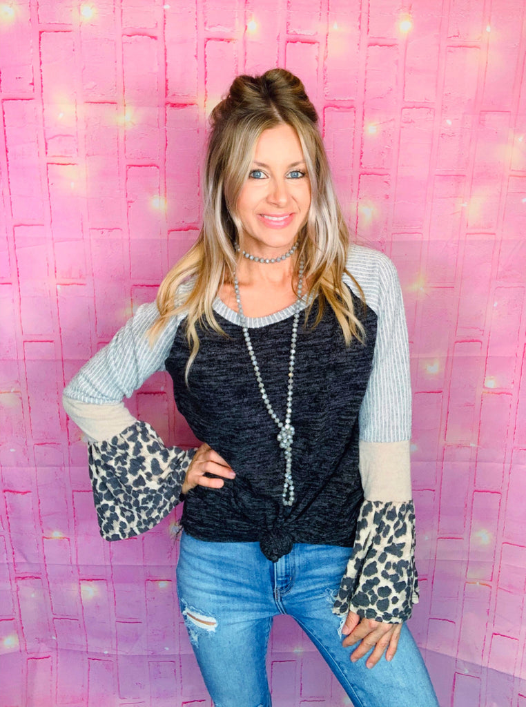 Fall Flare Sleeve Charcoal Black Leopard Blouse