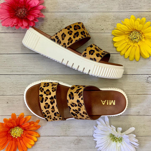 Leopard hair on hide Mia slide On sandals