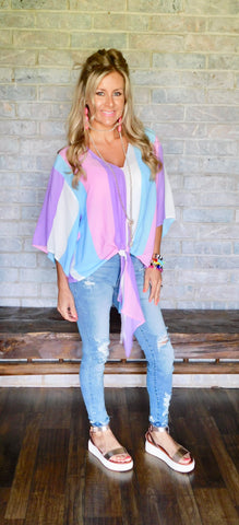 Soft vibes pastel striped blouse by Adrienne
