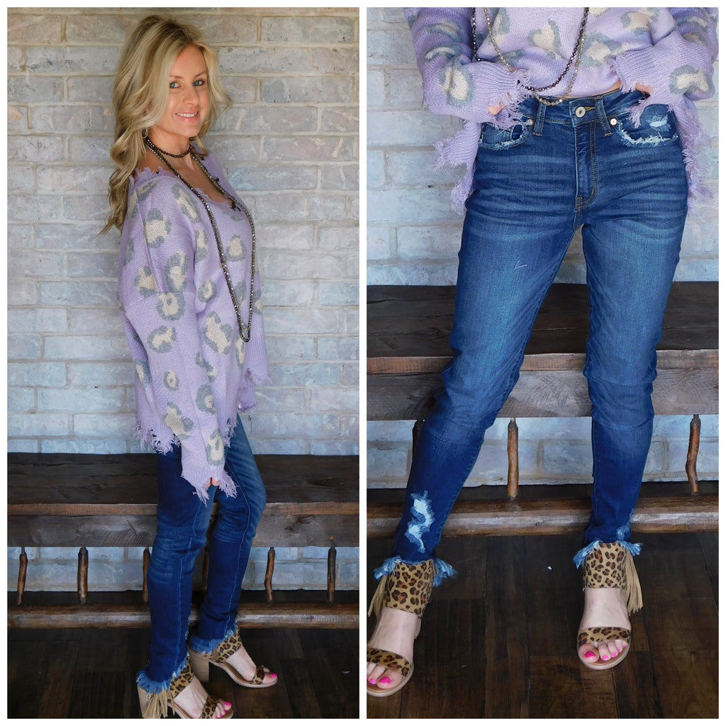 Pretty in denim fringed skinnies by Kan Kan
