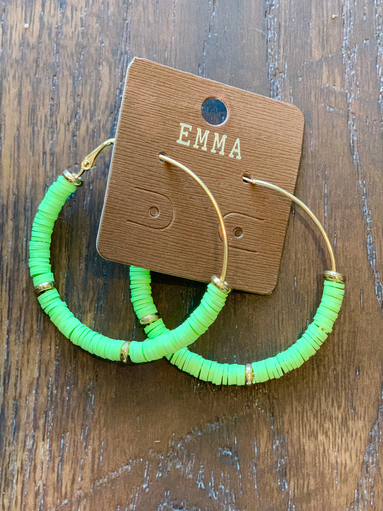 Spring Green Beaded Hoop Earrings