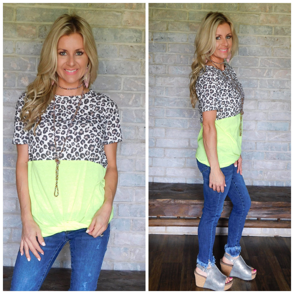 Neon Yellow Leopard Knot Top